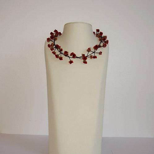 Collier « Cerisier » beige/rouge