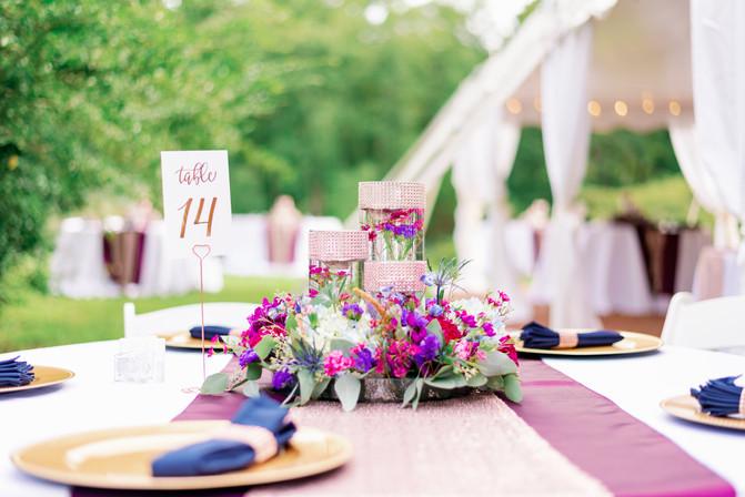 Table Centerpiece in Purple