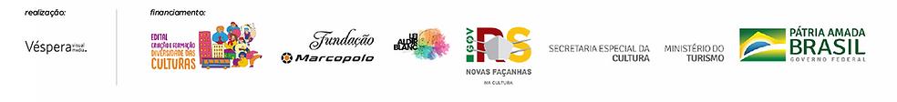 aqui se vê a barra de logos do 7º Cine Caramelo –Online, realização de Véspera Visual Media e financiamento através do Edital Criação e Formação – Diversidade das Culturas, realizado pela  Fundação Marcopolo e Secretaria de Estado da Cultura do RS com recursos da Lei nº 14.017/2020, a Lei Aldir Blanc.