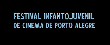 """""""festival infantojuvenil de cinema de porto alegre"""" em letras azuis claras"""