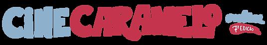 logotipo do cine caramelo online sétima edição, nas cores azul claro e vermelho