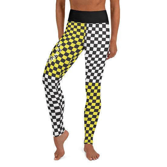 Retro AR White/Black & Yellow/Black Checkerboard Yoga Leggings