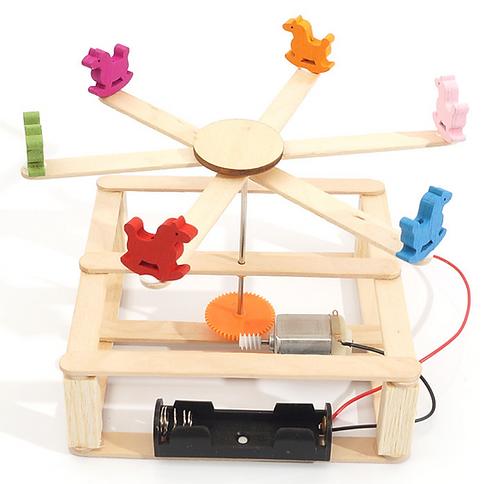 【DIY親子共創STEM科普玩具】蒙馬特旋轉小木馬- 6歲以上適用科學教具,親子同樂共創成果