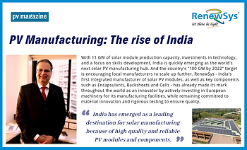 PV Manufacturing - The rise of India, PV