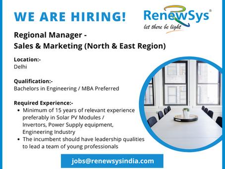 Vacancy - Regional Manager Sales & Marketing (North & East Region)
