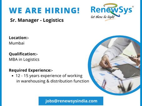 Vacancy - Sr. Manager Logistics