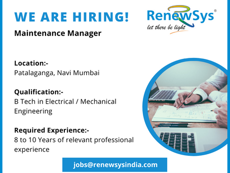 Vacancy - Maintenance Manager