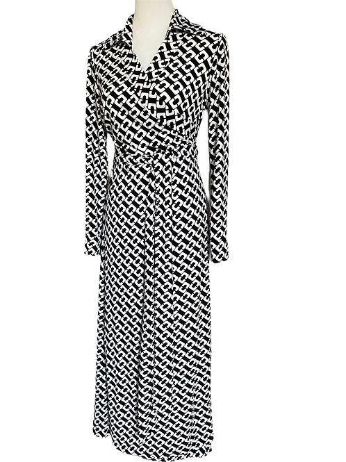 WRAP DRESS STELLA BLACK/WHITE