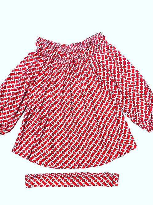 TOP OFF-SHOULDER RED/WHITE