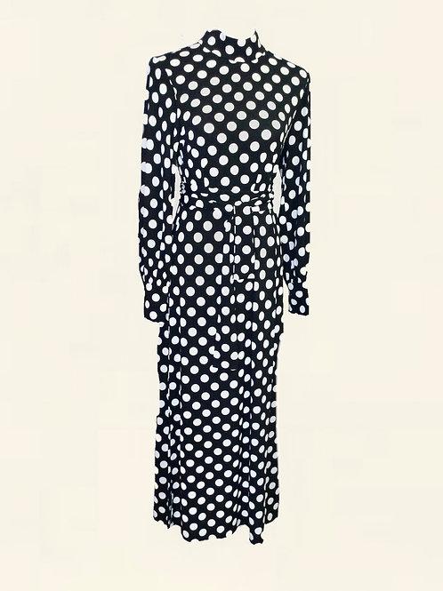 DRESS LINDA POLKA - DOT BLACK/WHITE