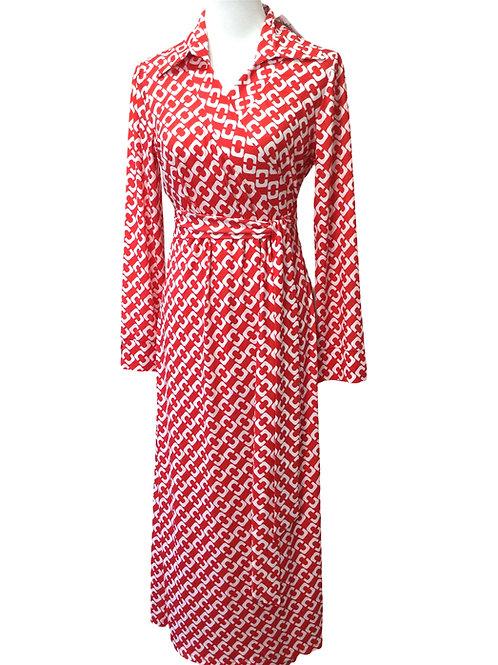 WRAP DRESS STELLA RED / WHITE
