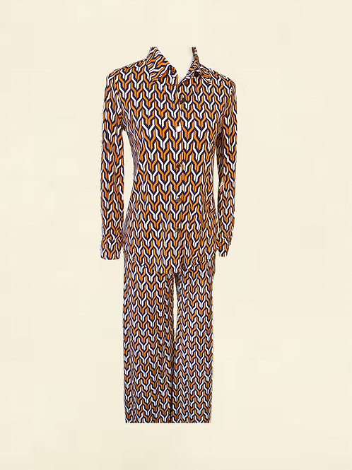 LOVE.CHEETAH SUIT JAZZY RETRO PRINT ORANGE