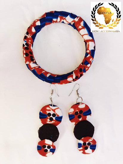 Boucles d'oreilles et bracelet en Wax