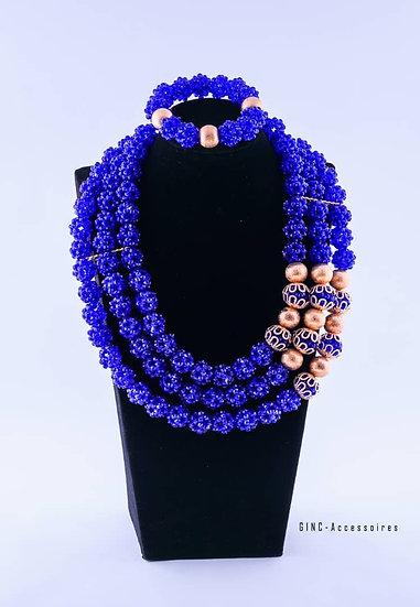 Ensemble boucles d'oreilles , chaînes et bracelet style yoruba