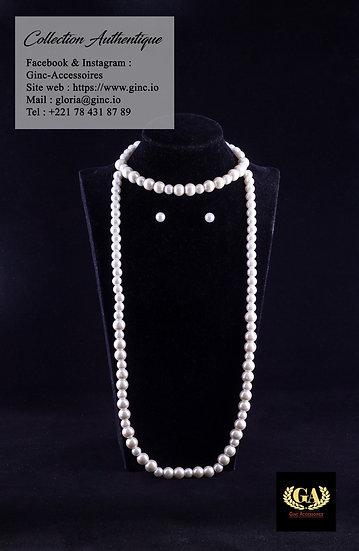 Ensemble perles blanches