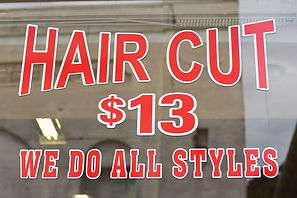 Hair Cut sign at Sam's Boonton Barber Shop