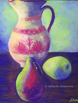 Pitcher with Pears, pastel, 16 x 20