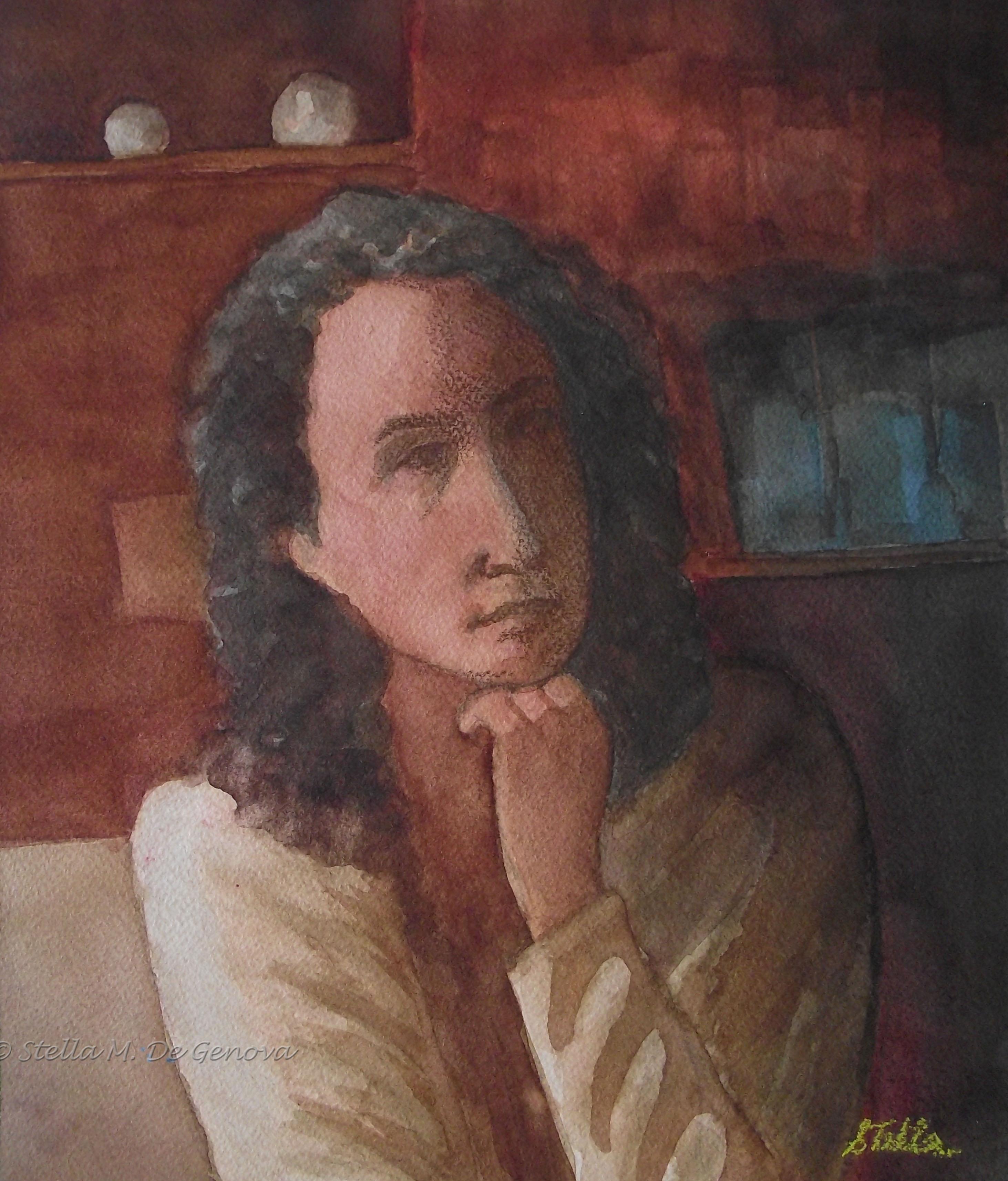 Self-Portrait, watercolor, 11 x 14