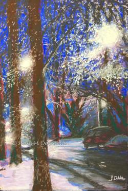 first snow - chicago side street, pastel, 12 x 16