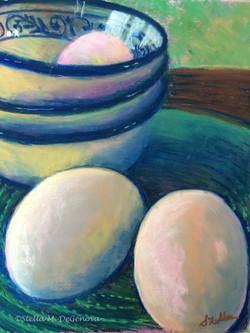 Egg Still Life, pastel, 12 x 16