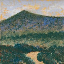 Solitary Mountain, pastel, 9 x 9