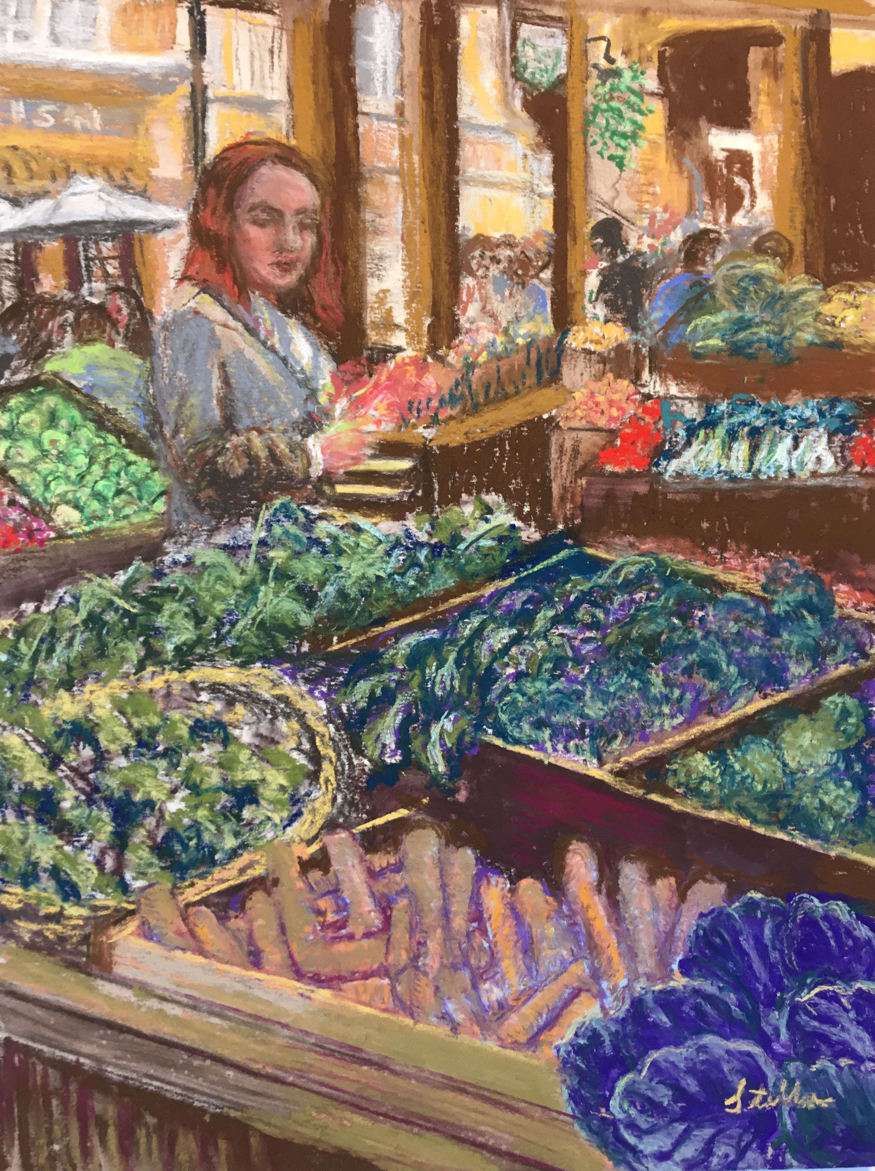 Borough Market - London, pastel, 9 x 12.