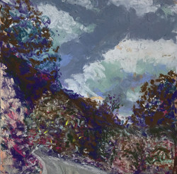 New Mexico Mountain Drive, pastel, 6 x 6