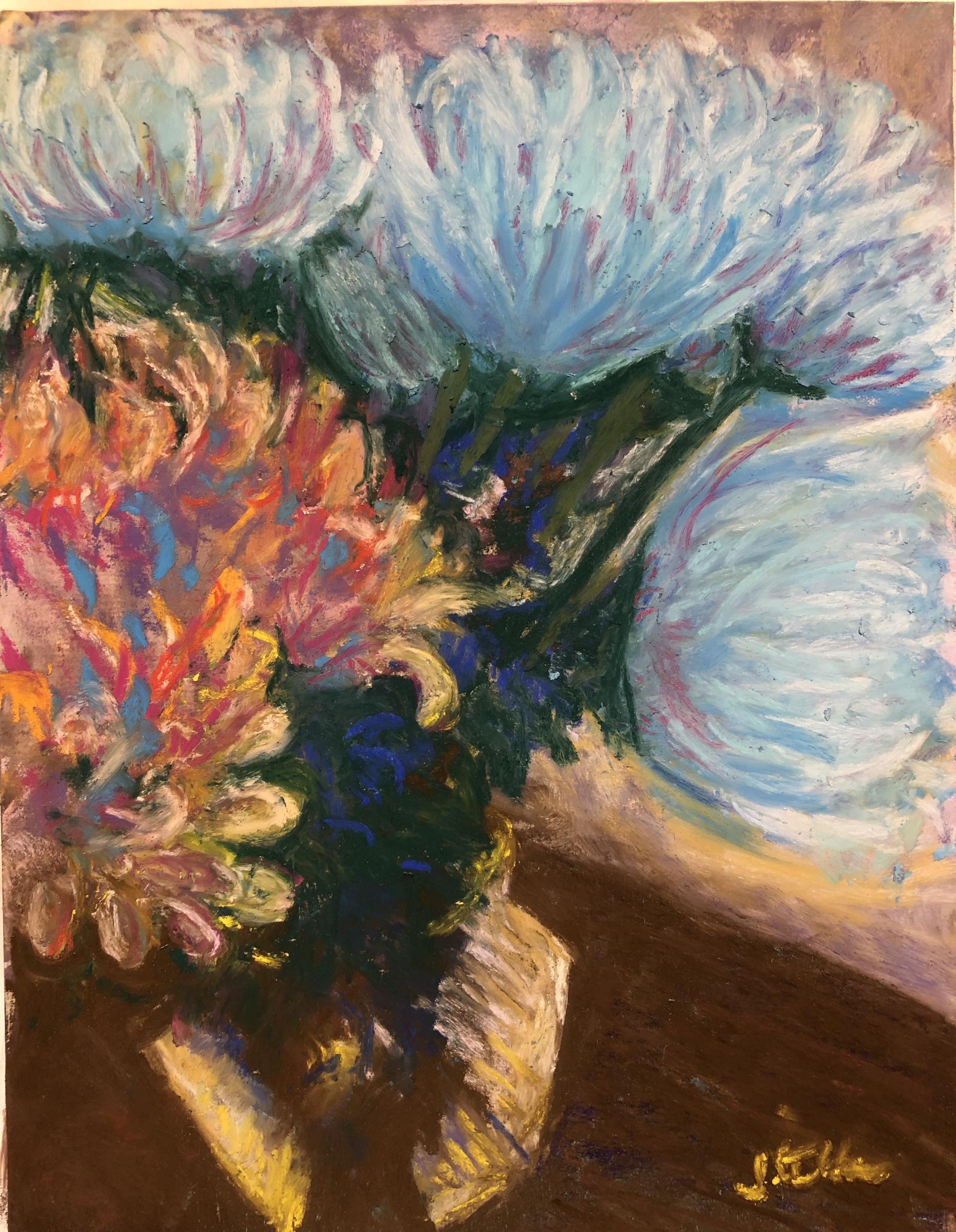 Floral Still Life, pastel, 8 x 10
