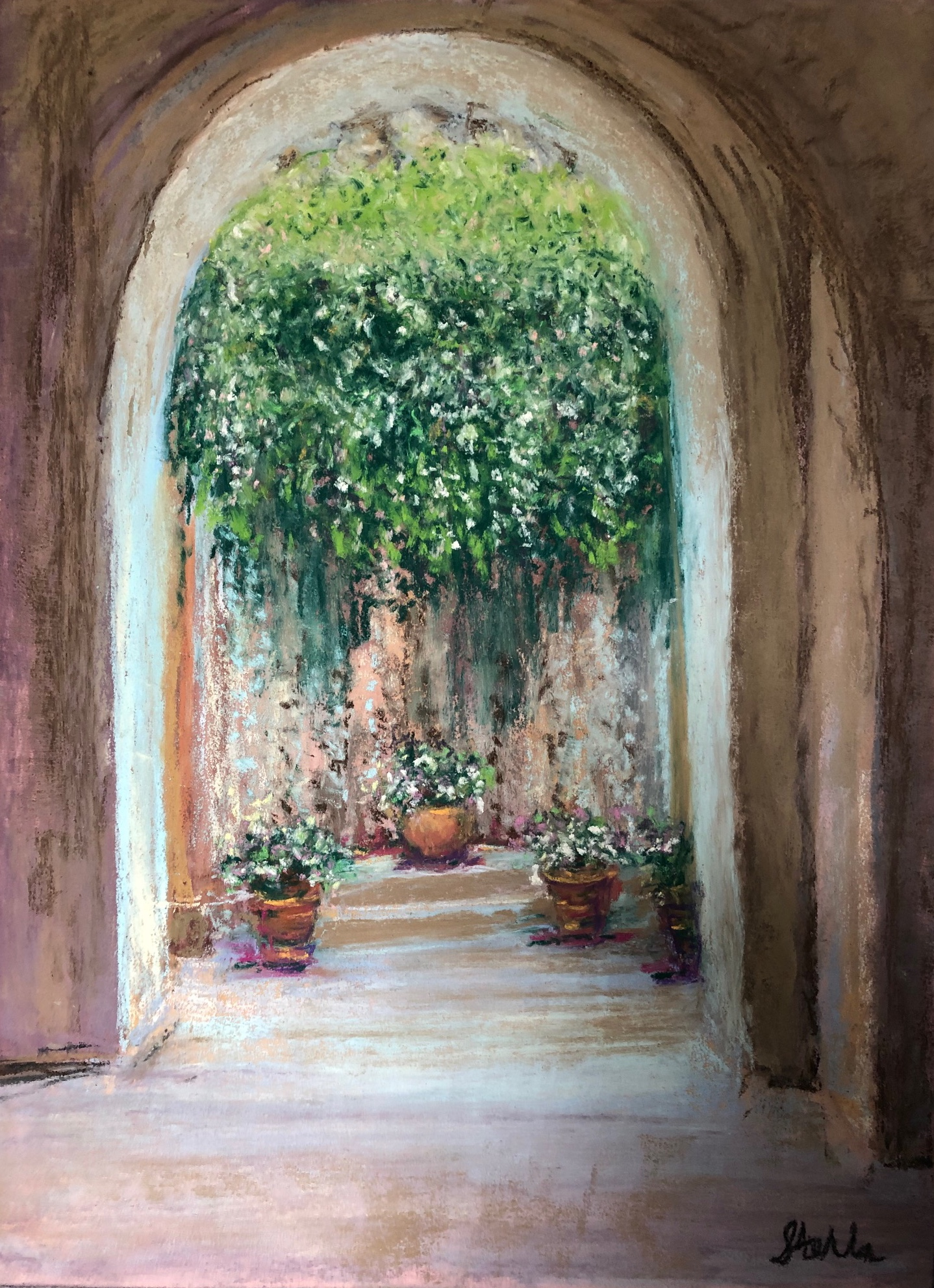 Sunlight on Ischia Garden, pastel 11 x 1