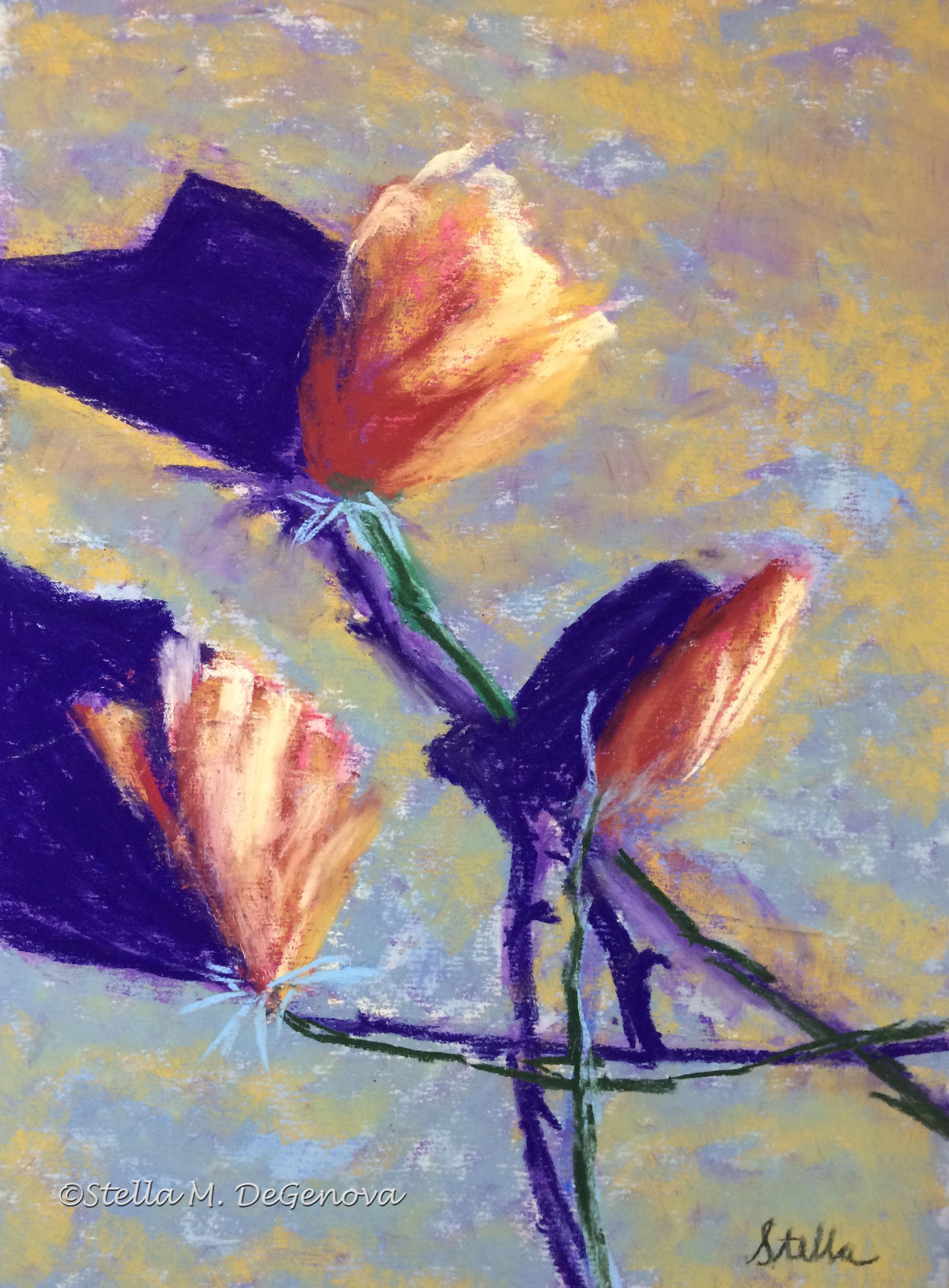 Magnolias, pastel, 11 x 14