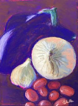 Vegetables, pastel, 11 x 14