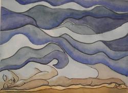Dream Under a Desert Sky, mixed media, 8 x 10