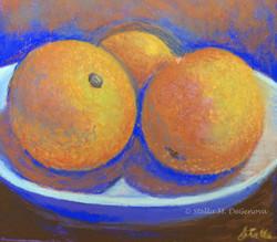 Orange Still Life, pastel, 10 x 10