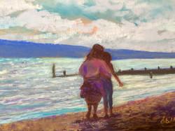 Walk Along the Shore, pastel, 11 x 14