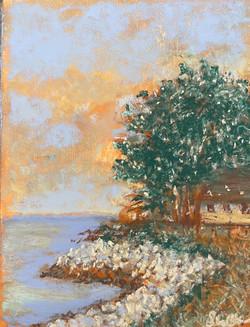 Rocky Shoreline, pastel 7x9