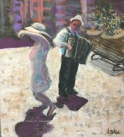 Tarantella  in the Piazza, pastel, 11 x 14