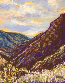 Santa Monica Mountains, CA, pastel, 11 x