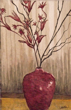 Red Vase, watercolor, 12 x 16