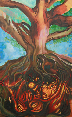 """Fire Tree (30"""" x 48"""" Oil on Canvass)"""