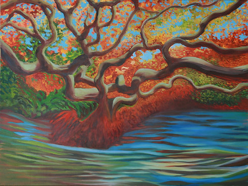 """Water Tree (48"""" x 30"""" Oil on Canvass)"""