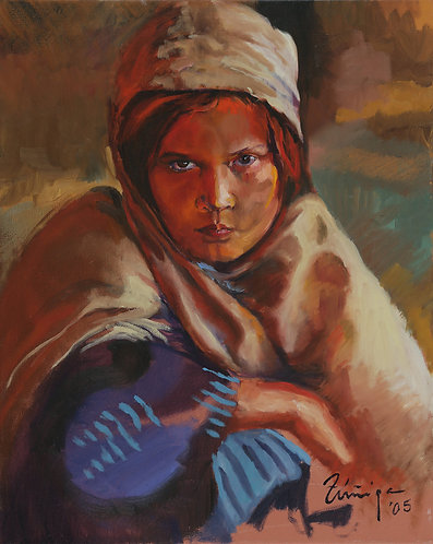 "Afghan Girl (16"" x 20"" Oil on Canvass)"