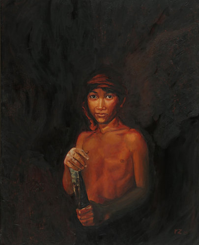 """Miner Boy (24"""" x 30"""" Oil on Canvass)"""