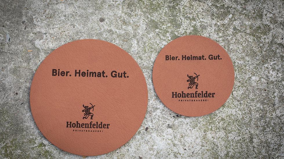 Getränkeuntersetzer-Set aus recyceltem Leder