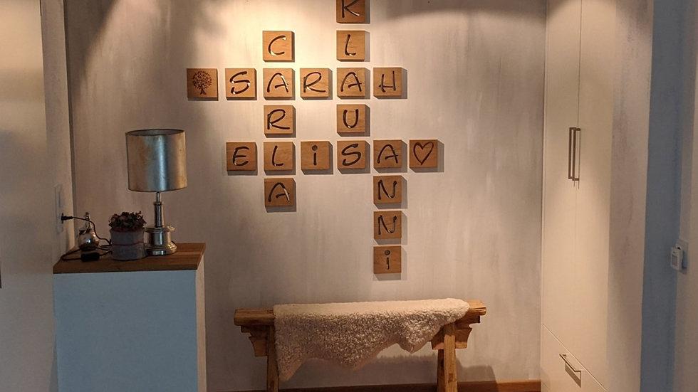 Holzbuchstaben aus Eichenholz (ausgelasert)