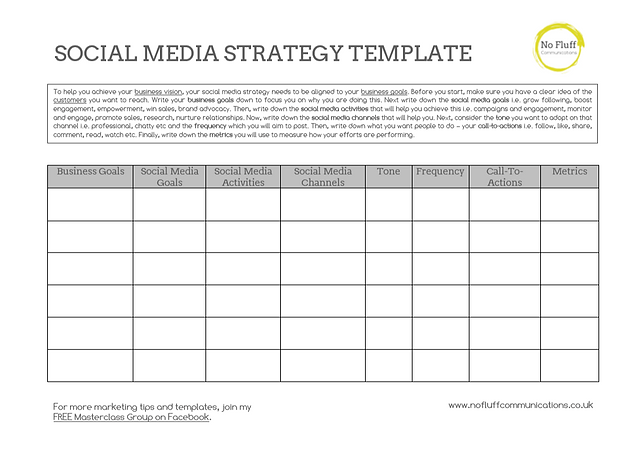 One Page Social Media Strategy Template
