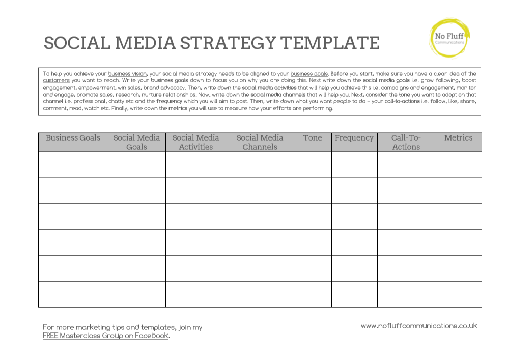 Social Media Strategy Template Plan