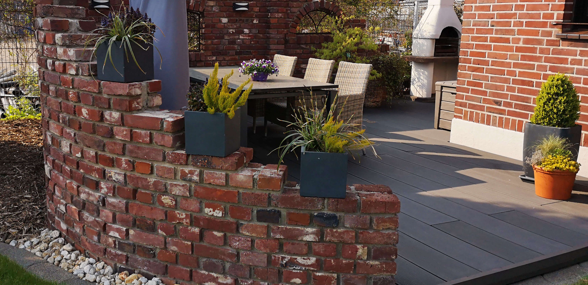 Gemauerte Gartenmauer