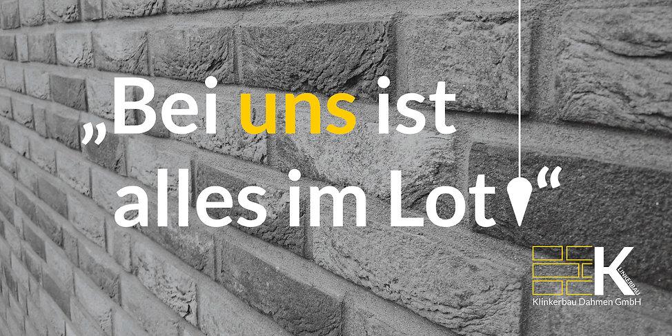 Bei uns ist alles im Lot - Motto Klinkerbau Dahmen GmbH