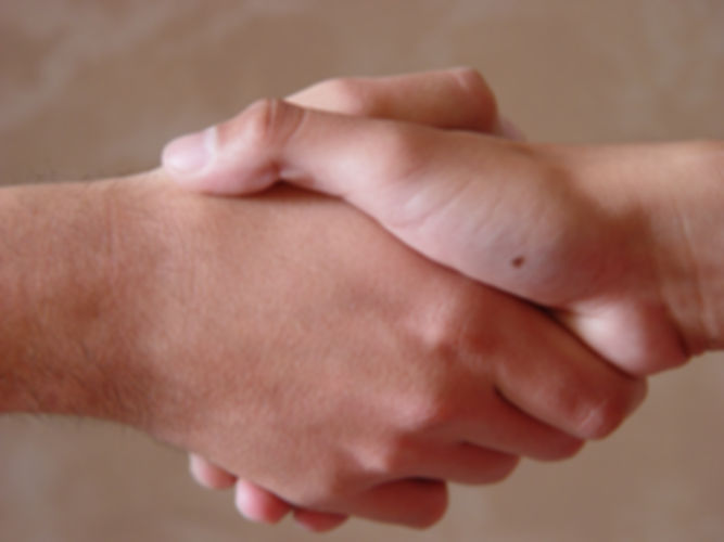 Shaking hands for partnership