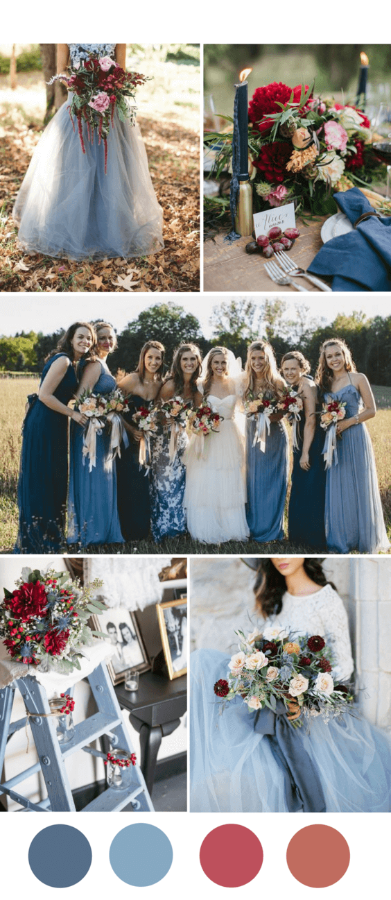 8 popular fall wedding color palettes for 2018 photo video dj by adding pops of blue in burgundy bouquets or having the perfect shade of dusty blue bridesmaid dresses you can create the perfect palette for your fall junglespirit Gallery